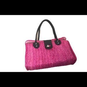 Pink Wicker Basket Handbag